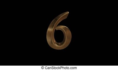 Countdown from 0 to 10. Digit 6. Gold digit 6 with alpha...