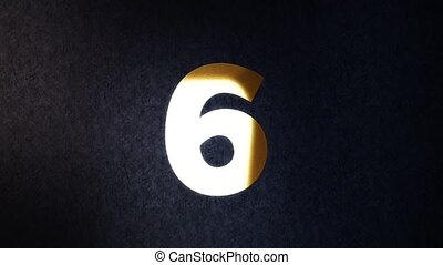 Countdown animation from 10 to 0 with gold numbers over dark background