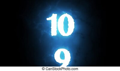 Simple countdown from 10 to 0 on a black background.