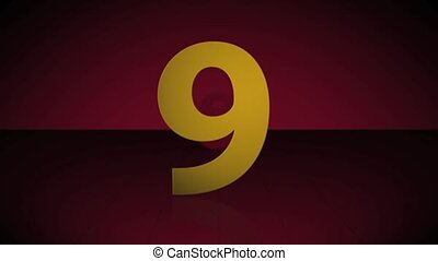 Countdown from 10 to 1 - Gold numbers over a deep red 3D...