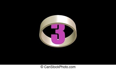 Countdown from five to one, colorful numbers in rotating ring, 3d animation