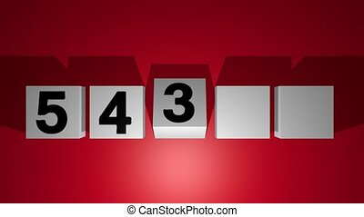 Countdown from five to one, moving cubes with numbers, gray cubes on red background, after finish of countdown are the cubes falling down