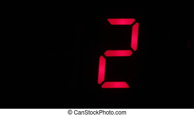 Countdown from five to zero and to minus five. Technology...
