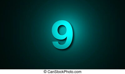 Countdown leader graphic 10 to 0. Computer graphic animation