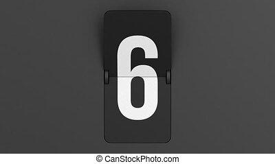 countdown on dark background. Flip scoreboard number. 3D render