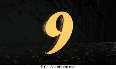Countdown. Three-dimensional figures from 10 to 0