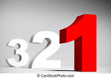 Numbers three two and red one over a grey background with depth of field effect. 3D render with depth of field effect