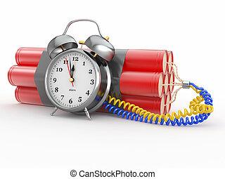 Countdown. Time bomb with alarm clock detonator. Dynamit. 3d...