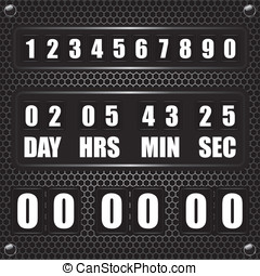 Countdown timer on octagon metal background