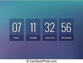 Countdown timer vector clock counter. Flip business scoreboard display design