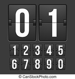 Countdown timer, white color mechanical scoreboard