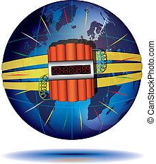 Countdown to global catastrophe - Blue Globe and dynamite ...
