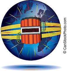 Countdown to global catastrophe - Blue Globe and dynamite...