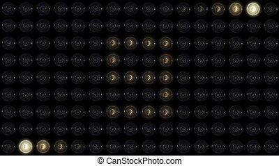 Countdown to Zero with Light Flashes on the black background