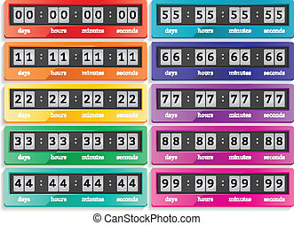 Countdown vector isolated timers icons set