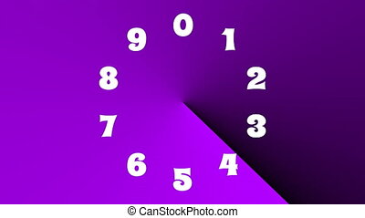 Countdown with color changing effect, 10 seconds, multicolored gradient rotating at a 360 grad angle, white numbers showing seconds