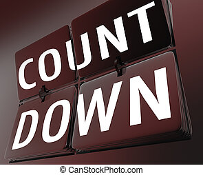 Countdown word on a retro clock with flipping tiles illustrating a deadline or important ending or completion date for a job or period