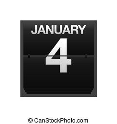 Counter calendar January 4. - Illustration with a counter...