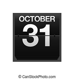 Counter calendar October 31. - Illustration with a counter...