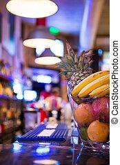 counter., hinder, bunke, baksida, suddig, frukt, night., bar.