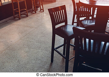 counter., hinder, trä, bredvid, stol, cafe., tom