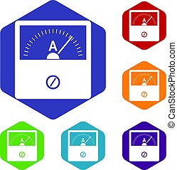Counter icons set hexagon isolated vector illustration