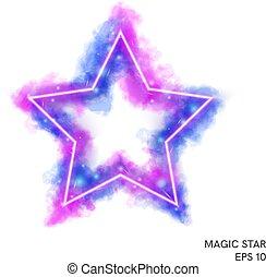 counter., magie, brûler, néon, aquarelle, étoile