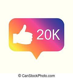Counter Notification Icon, color gradient. Follower. Icon like 20K. Instagram 20000 like icon. Social media 20K like. Vector illustration. EPS 10.