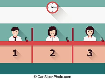 Counter service - Vector counter service clerks at work flat...