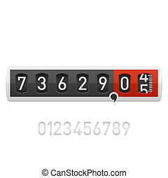 Vector illustration of a counter. Easily changed numbers