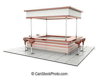 Counter with chairs - Bar counter with cafeteria chairs. Can...