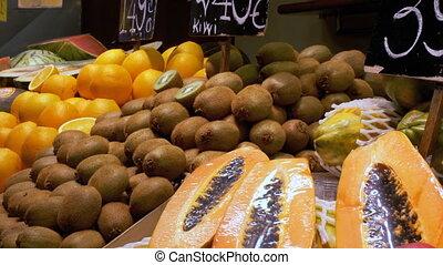Counter with Fruits at a Market in La Boqueria. Barcelona....