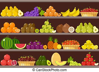 Counter with fruits. Supermarket