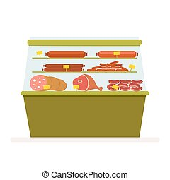 Counter with meat products, sausage and ham in the fridge. Refrigerating equipment for storing food in a store or supermarket. Vector, illustration in flat style isolated on white background EPS10