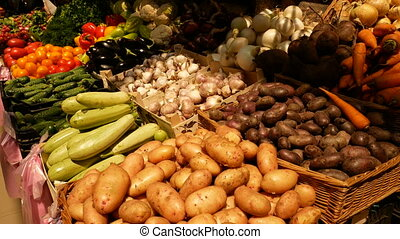 Counter with vegetables close-up