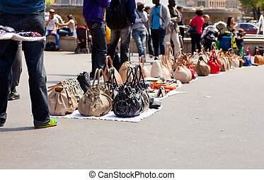 Counterfeit italian bags in the street - Counterfeit italian...