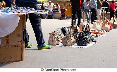 Counterfeit italian bags in the street - Counterfeit italian...