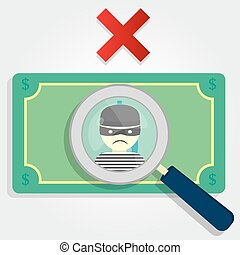 Counterfeit money or stolen. A magnifying glass focusing on...