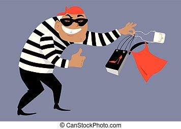 counterfeiter.eps - Criminal in a mask selling counterfeit...