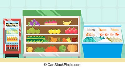 Counters with food, vegetables and fruits. Refrigerator with soft drinks. Showcase with meat, fish and sausages. Trade equipment in a supermarket or grocery store. Vector, eps10.