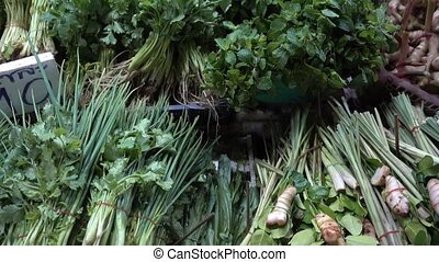 Countertop with greens night market in Thailand - Countertop...