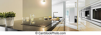 Countertops in designed kitchen - Panoramic view of...
