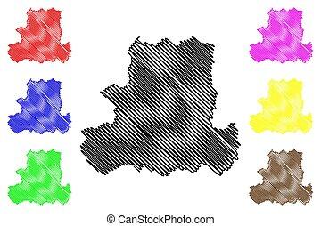 counties), bosquejo, mapa, condado, garabato, (hungary, ...