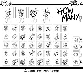 counting activity coloring book - Black and White Cartoon...