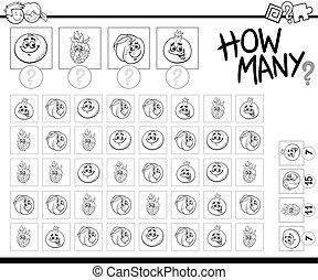 counting activity coloring page - Black and White Cartoon ...