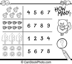 counting activity coloring page - Black and White Cartoon...