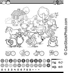 counting activity for coloring - Black and White Cartoon ...