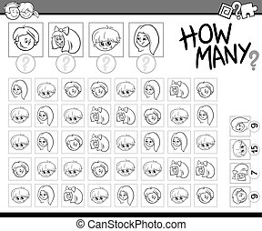 counting activity for coloring - Black and White Cartoon...