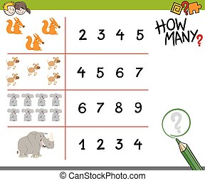 counting activity with animals - Cartoon Illustration of...