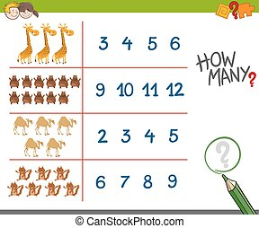 counting activity with cute animals
